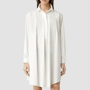 AllSaints Lana shirt dress in white